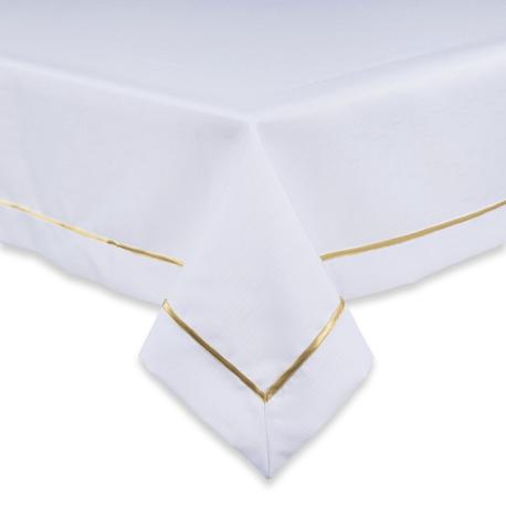 Biały obrus ze złotą lamówką (1)