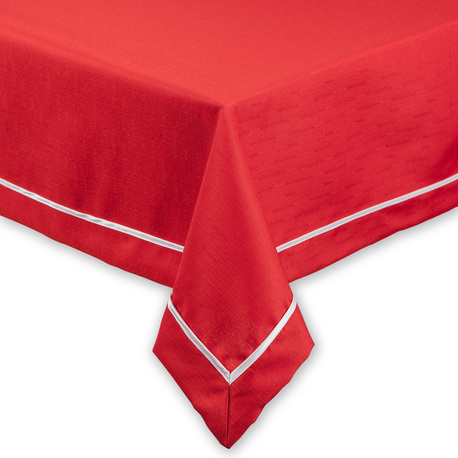 Czerwony obrus z białą lamówką (1)