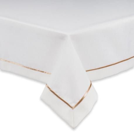 Kremowy obrus ze złotą lamówką (1)